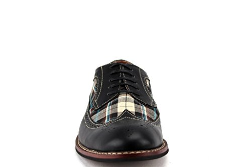 Ferro Aldo Mens 19312d Vingspets Rutiga Oxfords Dress Shoes W / Foder Av Läder Svart