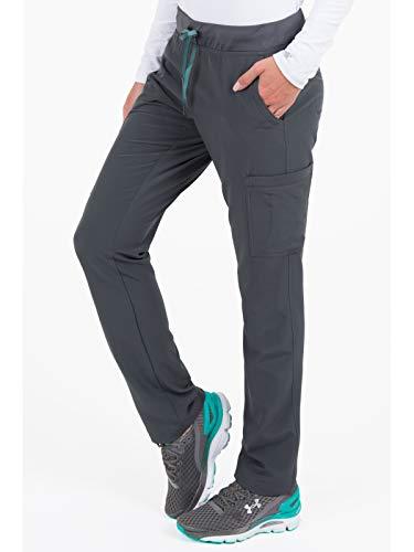 Med Couture Air Scrubs for Women, Yoga 2 Cargo Pocket Pant, Pewter/Aruba Blue, Medium ()