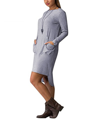 AMZ PLUS Women's Long Sleeve Round Neck Solid Color Loose Knee Length Dress Gray 5XL