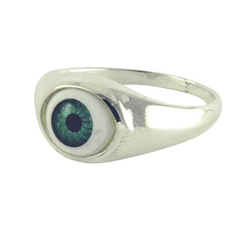 apop nyc Sterling Silver Green Evil Eye Ring (6) [Jewelry]