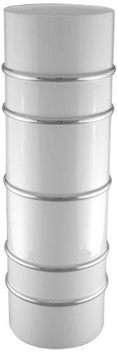 Maison Alma AR109WP Arienne Collection Decorative Cylinder Vase 20-Inch White Limoges Porcelain with Platinum Accents [並行輸入品] B07H855JHK