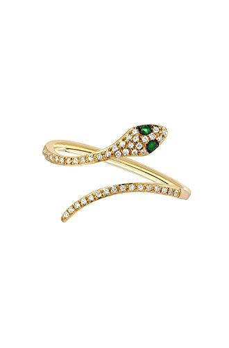 Pave diamond snake ring, 14k gold, Zoe Lev Jewelry