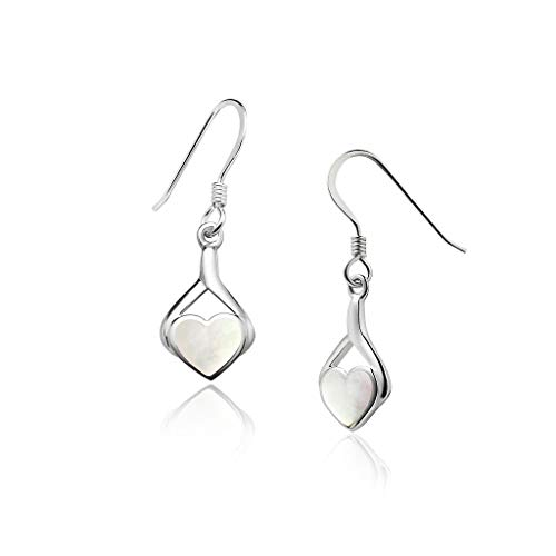 Big Apple Hoops - Genuine 925 Sterling Silver ''Heart of Love'' Cute & Comfort Natural Mother of Pearl Inlay Dangle Hook Earrings | Dainty, Delicate and Perfect Design - Rust Natural Finish Chandeliers