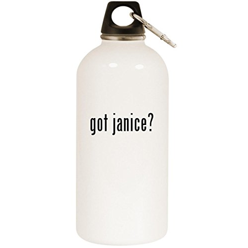 got janice? - White 20oz Stainless Steel Water Bottle with Carabiner