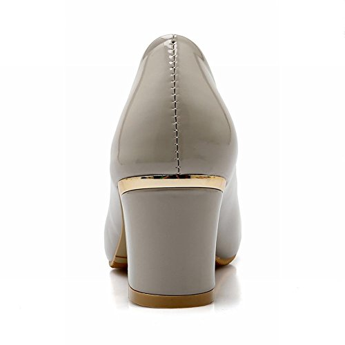 Pied De Charme Mode Féminine Boucle Carrée Chunky Talon Pompes Chaussures Gris