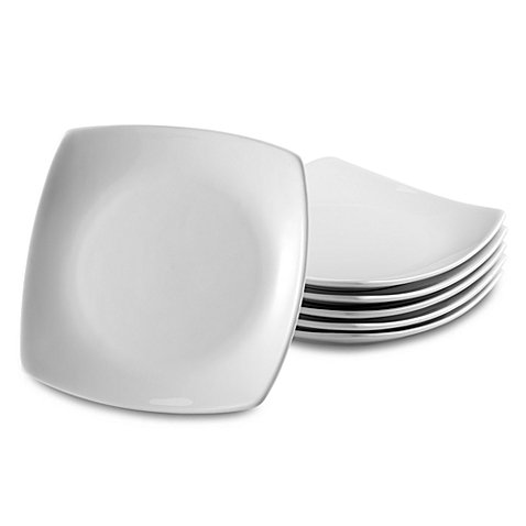 Square White Porcelain Appetizer Plates, Set of 6