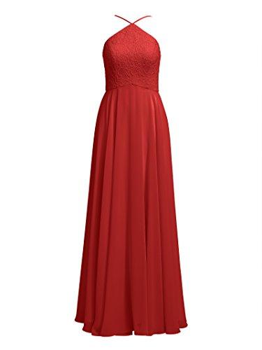 Bridal Evening Event Party 2017 Formal Alicepub Red Chiffon Lace Maxi Dresses Dress T6pccq0w