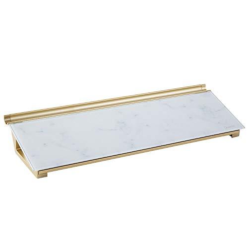 "Quartet Glass Desktop Computer Pad, 18"" x 6"", Dry Erase Surface, Accessory Tray, Marble (GDP186M)"