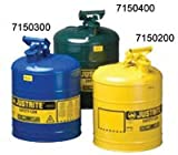 Justrite 7150200 Yellow Galvanized Steel Type I Safety Can - 5 Gallon Capacity