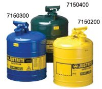 Justrite 7150200 Yellow Galvanized Steel Type I Safety Can - 5 Gallon Capacity by Justrite