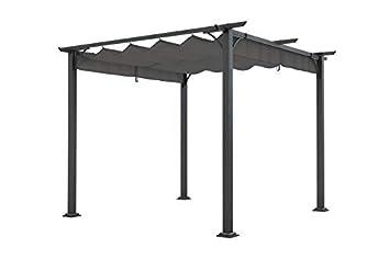 Amazon.de: Pergola Pavillon aus Stahl 3 x 3 m mit Stoffdach ...