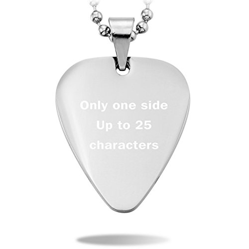 MeMeDIY Silver Tone Stainless Steel Pendant Necklace Guitar Pick Heart ,come with Chain - Customized Engraving (Guitar Necklace Pick Silver)