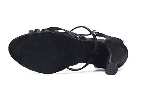 Femmes joymod Satin 5cm Noir Mgm Tango Moderne Fte Ballroom Samba Weave Toe Latin Formelle Danse Chaussures Talon Salsa Strap Corset Style Peep Sandales De Mariage Rumba 7 A5pwwdqY
