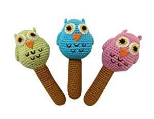 Cheengoo Hand Crocheted Organic Rattles - Set of 3 Owls