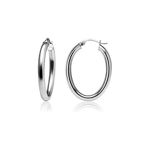 Sterling Silver 3mm Oval Hoop Earrings, Choose Size and Color