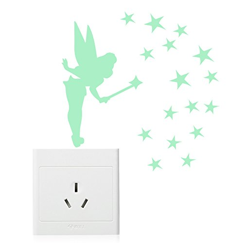 Amaonm 5pcs Removable Vinyl Glow In The Dark Angel