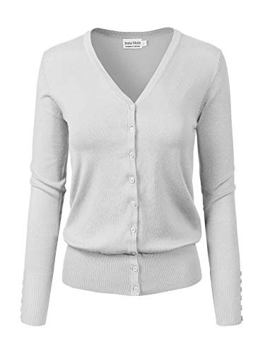 Instar Mode Women's Classic Button Down Long Sleeve V-Neck Soft Knit Sweater Cardigan [S-3XL] White ()