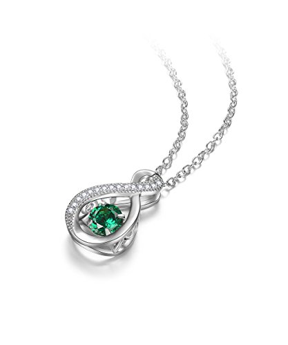 Green May Birthstone Pendant (EVER2000 Infinity Birthstone Pendant Necklace for Women,Sterling Silver Fashion Jewelry Birthday Gift)