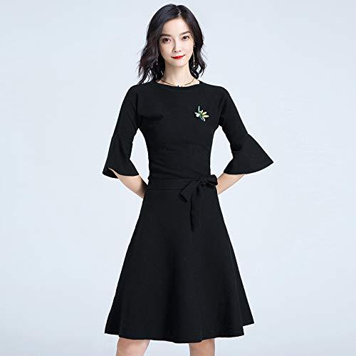 vita e inverno cravatta donna donna rotonda abito da e con da in Liuxc sottile autunno Maglione maglione con nero wAxSzaqnn1