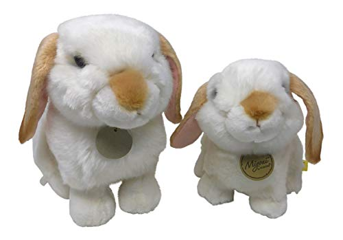 Set of 2 Miyoni Mother Baby White Rabbit Bunny with Tan Lop Ears Toy Stuffed 11 Inch and 8 Inch Plush by Aurora
