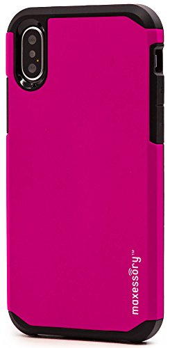 iPhone X Case, Maxessory Hot Pink Globetrotter Heavy-Duty Protective Hybrid Cover w/Durable Shock-Absorbing Full-Body Protective Tough Hard Shell ()