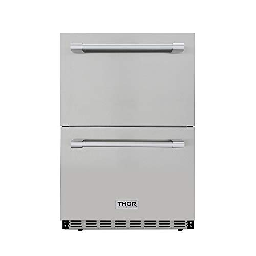 """Thor Kitchen 24"""" Built-in Refrigerator 2 Drawers Under Counter Ventilated Coolin 5.3cu.ft HRF2401U"""