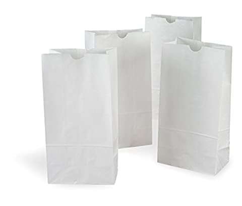 The Bakers Pantry® Pack of 500 White Kraft Paper Bags *Great for Crafts, Lunch Bags, Party Bags, Envelopes and MUCH MORE* Variety of Sizes Available (5.25