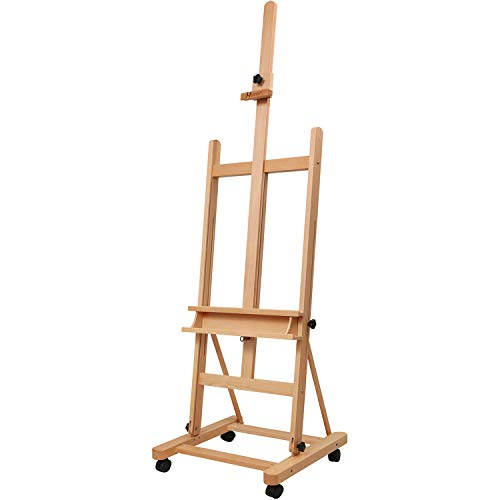 "MEEDEN Large Studio H-Frame Easel - Solid Beech Wood Artist Easel Adjustable Movable Tilting Easel, Floor Painting Easel Stand, Holds Canvas Art up to 48"""