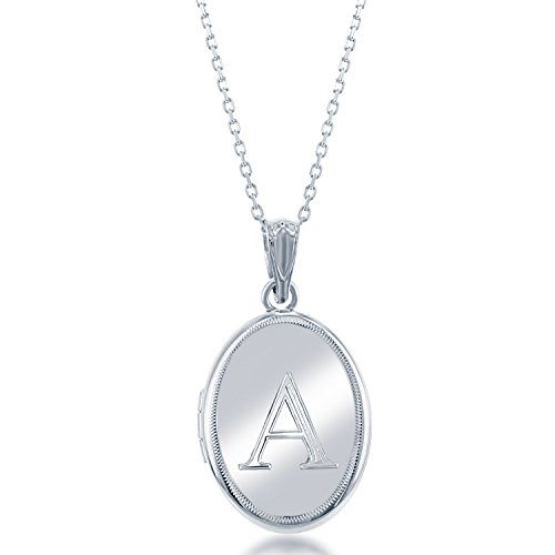 Sterling Silver High-Polish Initial ''A'' Oval Locket with 18'' Chain by Beaux Bijoux