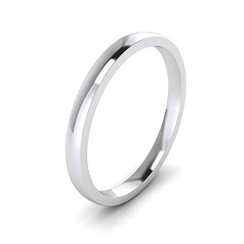 LANDA JEWEL 2mm Heavy Sterling Silver Comfort Fit Polished Womens Wedding Ring Plain Band (6) ()