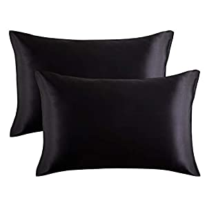 Bedsure Satin Pillowcase for Hair and Skin, 2-Pack – Standard Size (20×26 inches) Pillow Cases – Satin Pillow Covers with Envelope Closure, Black