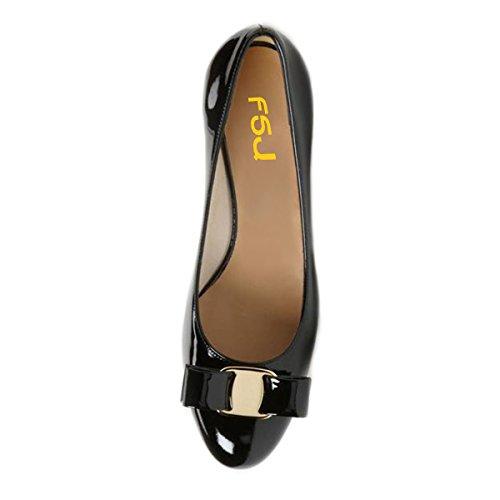 Fsj Mujeres Bloque Punta Redonda De Tacón Bajo Las Bombas Cómodos Del Bowknot Resbalón En Los Zapatos De La Oficina Del Vestido Formal Del Tamaño 4-15 Nos Negro De Patentes Envío gratis para barato LbozRM