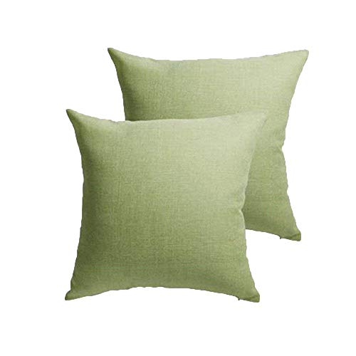 ALBAD Linen Pillow Covers 20 x 20Inch Sets of 2 spinach green Decorative Square Throw Pillow Cover Cushion Case Sofa Durable Modern Stylish Linen spinach green Throw Cushion Covers Hidden Zipper