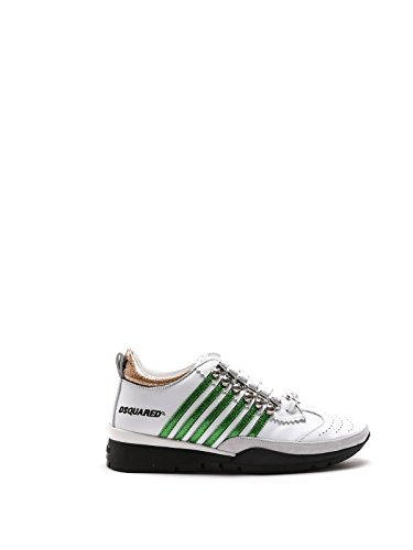 DSQUARED2 WOMEN'S W16K2011067M243 WHITE/GREEN LEATHER (Dsquared2 White Leather)