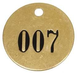 Industrial Grade 6A233 Tag 1-1/2 Inch, Brass, Numbers 1-25