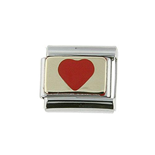 Stainless Steel 18k Gold Italian Charm Bracelet Link Red Heart Charm 9mm