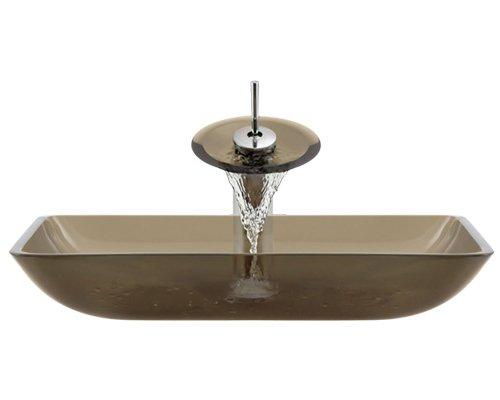 Aurora fregaderos g10-desert-c-v baño conjunto con Pop up de drenaje, desierto recipiente de vidrio, fregadero, anillo y...