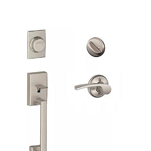 (Schlage F93CEN619MER(LH) F93 Century Dummy Door Handleset with Merano Left Hand Interior, Satin Nickel)