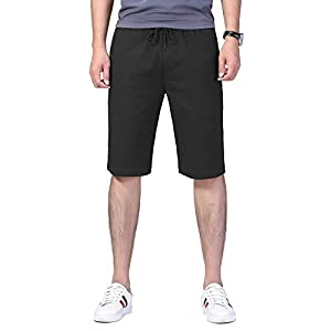 HONTOUTE Men's Stretch Chino Shorts Mid Waist Casual Flat Front Skinny Shorts