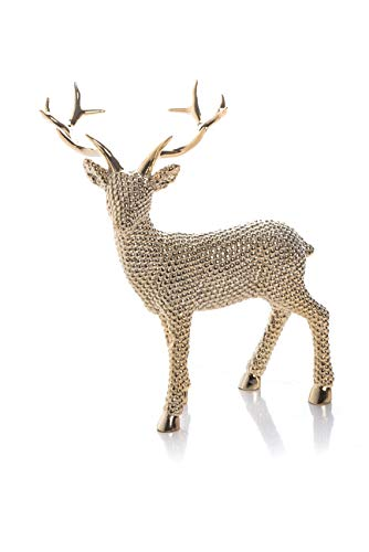 Transpac Imports D2148 Large Resin Shiny Gold Reindeer Left Facing Decor, (Reindeer Home Decor)