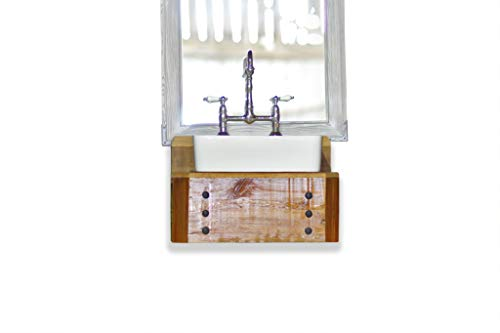 Reclaimed Wood Floating Bath Vanity Rectangular Vessel Sink Bath Console Package