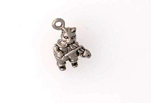 (Pendant Jewelry Making/Chain Pendant/Bracelet Pendant Sterling Silver 3-D The Cat & The Fiddle)
