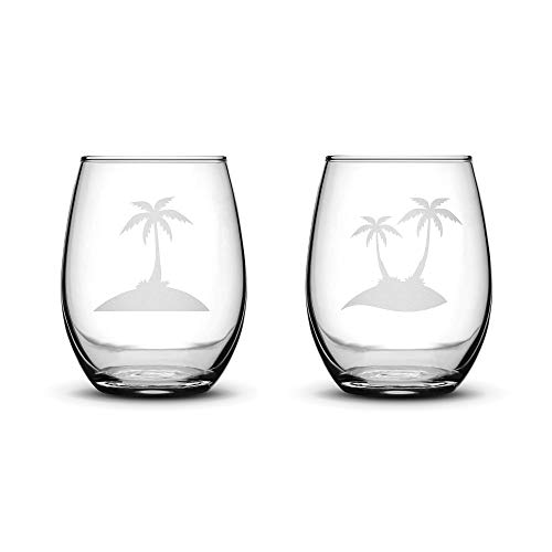 Integrity Bottles Premium Stemless Wine Glasses, Set of 2, Palm Trees, Deep Etched 15 Ounce Stemless Gifts, Made in USA, Sand Carved by Hand