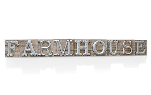 Barnyard Designs Large Vintage Wooden Farmhouse Sign with Galvanized Metal Lettering | Primitive Country Home Decor, Built in Brackets for Hanging, 59.75