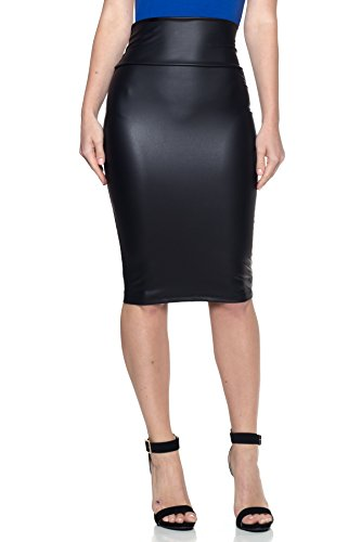 Cemi Ceri Women's J2 Love Made in USA Faux Leather Pull on Midi Pencil Skirt, L Black