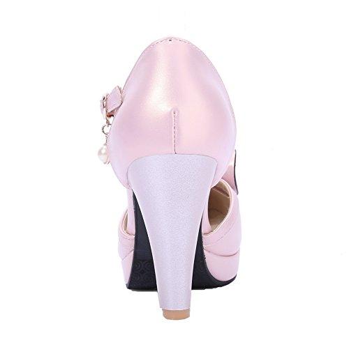VogueZone009 Damen PU Ziehen auf Rund Zehe Hoher Absatz Rein Pumps Schuhe Pink