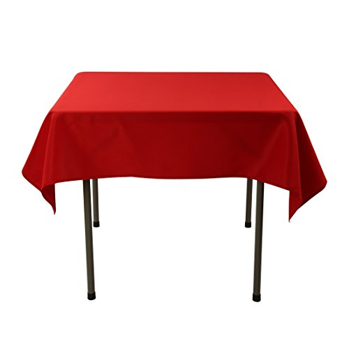 E-TEX 52x52-Inch Polyester Square Tablecloth Red (Polyester Square Table)
