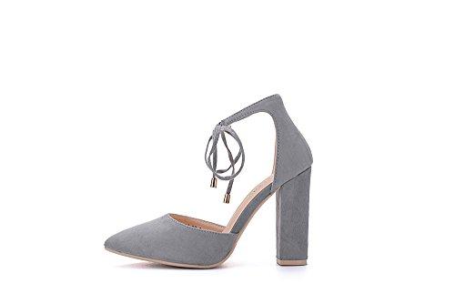 Mila Lady Beryl-02 Dorsay Klassiska Ankel Strappy Spets Elegans Plattform Dam Klackar! Grå