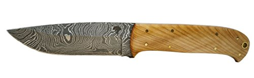 Olympus Blades | Handmade Drop Point Damascus Steel Knife | Fixed Blade | Comes with Leather Sheath | Handle Material: Olive Wood ()