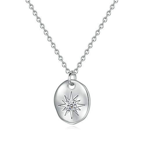 Turandoss North Star Necklace for Women Gifts - White Gold Plated Square North Star Pendant Sparkly Star Necklace Inspirational Gifts for Women Girls, Dainty for Her Unique Gifts for Women